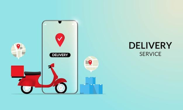 Schnelle lieferung per roller auf dem handy. e-commerce-konzept. online-bestell- und verpackungsbox für lebensmittel oder pizza. Premium Vektoren