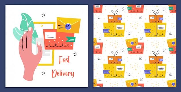Schnelle lieferung. post, postfach, zustellung. post. schneller service. flache bunte illustration Premium Vektoren