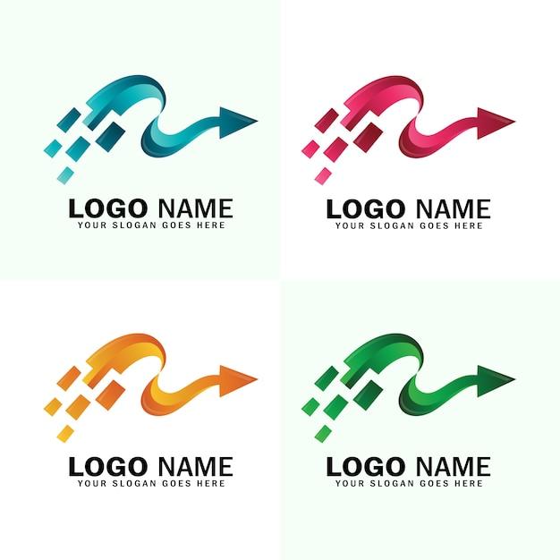 Schnelle pfeil-logo-vorlage Premium Vektoren