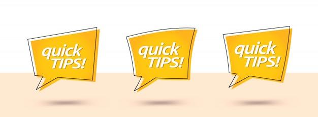 Schnelle tipps, hilfreiche tricks banner Premium Vektoren