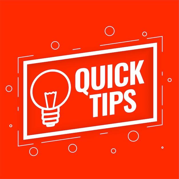 Schnelle tipps hintergrund für hilfreiche tricks und tipps Kostenlosen Vektoren