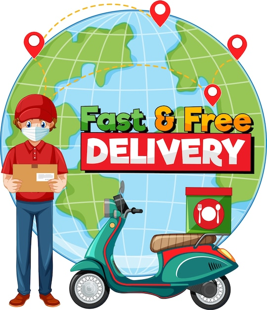 Schnelle und kostenlose lieferung logo mit fahrradmann oder kurier Kostenlosen Vektoren