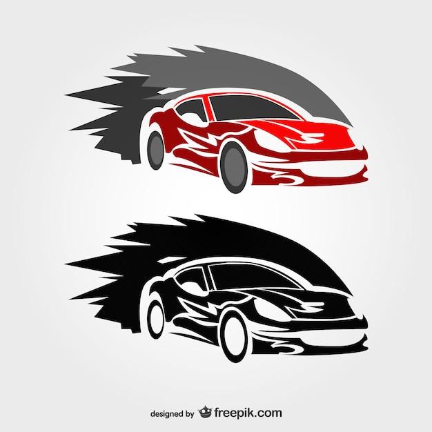 Schnellen rennwagen vektor-logo Kostenlosen Vektoren