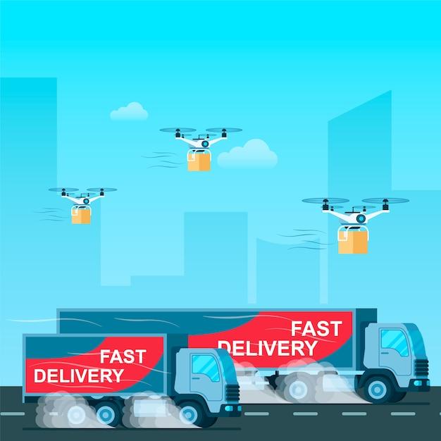 Schneller lieferwagen. drohne mit paket fliegen Premium Vektoren