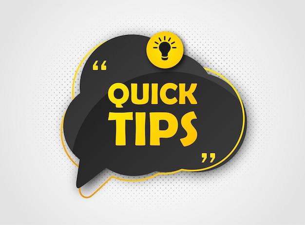 Schneller tipp, banner zu hilfreichen tricks. sprechblase Premium Vektoren