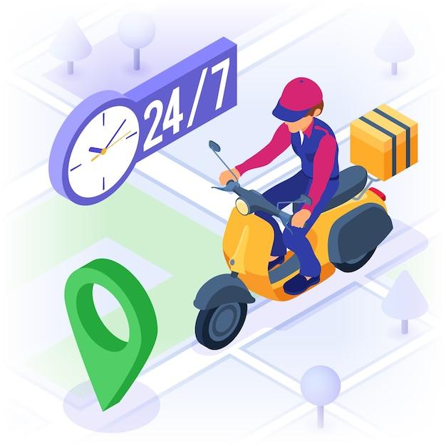 Schneller und kostenloser online-bestell- und paketzustelldienst. Premium Vektoren