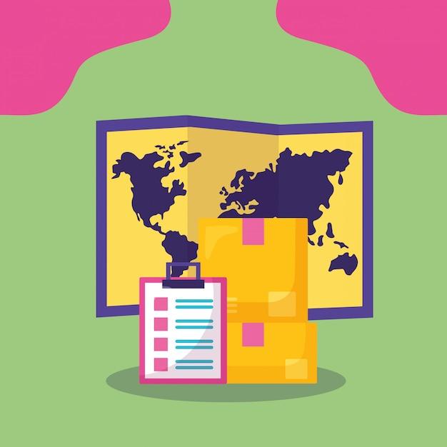 Schnelles anlieferungskonzept mit karte und kästen Kostenlosen Vektoren