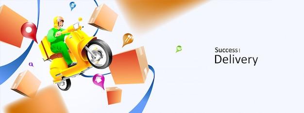 Schnelles lieferpaket per roller auf dem handy. paket im e-commerce per app bestellen. sendungskurier per kartenanwendung. dreidimensionales konzept. vektorillustration Premium Vektoren