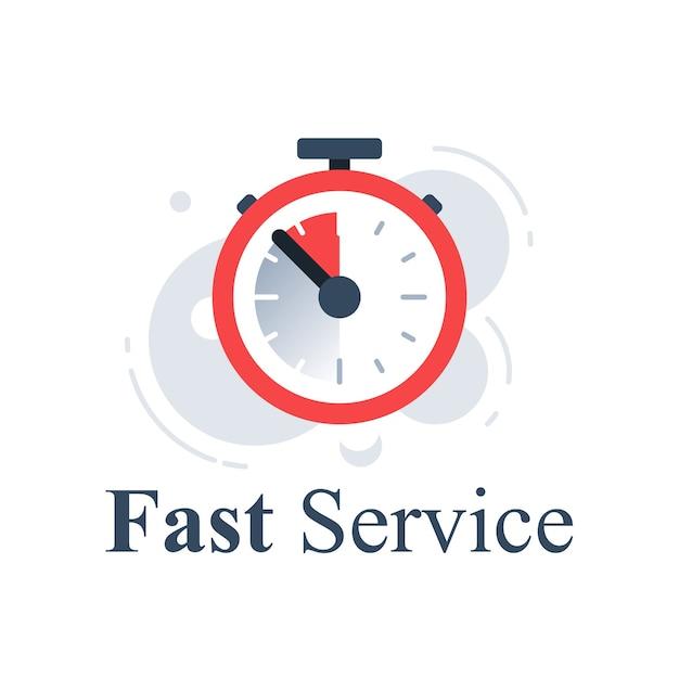 Schnelles servicekonzept, stoppuhr in letzter minute, zeitschaltuhr, zeitschaltuhr, countdown für das letzte angebot, schnelle lieferung der bestellung, begrenzte frist, symbol, abbildung Premium Vektoren