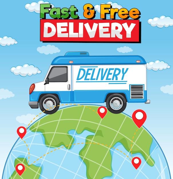 Schnelles und kostenloses lieferlogo mit lieferwagen auf der erde Kostenlosen Vektoren