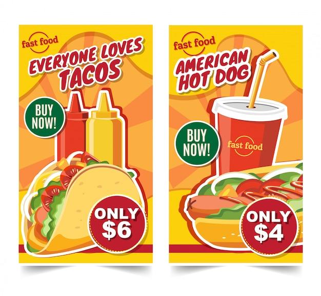 Schnellimbisshamburger, schnellimbissmahlzeitfahnen geschmackvoller satzschnellimbissvektor Premium Vektoren