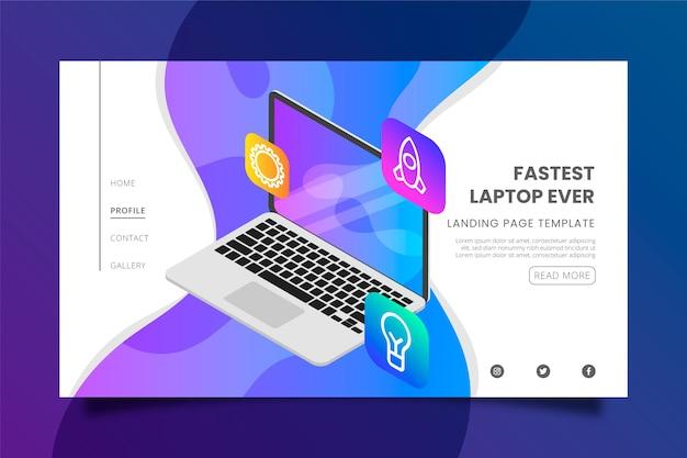 Schnellster laptop aller zeiten und app-landingpage-vorlage Kostenlosen Vektoren