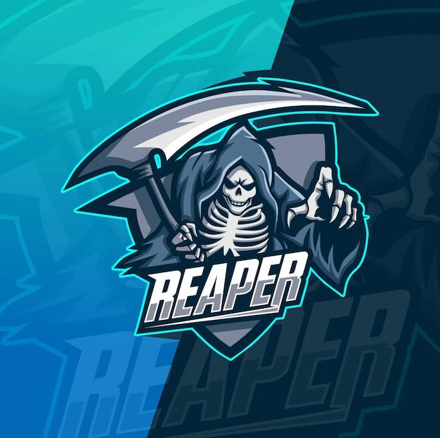 Schnitter schädel maskottchen esport logo vorlage Premium Vektoren