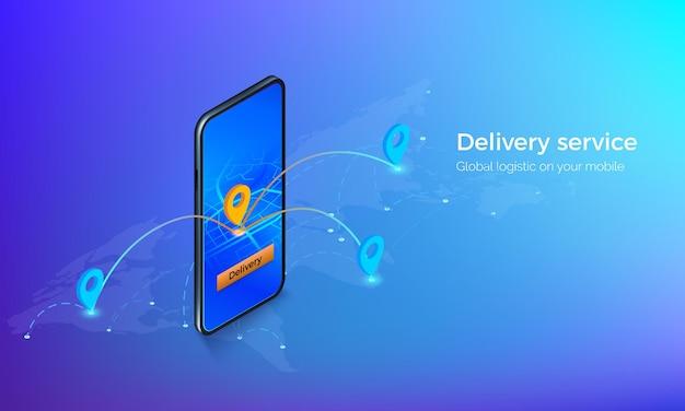 Schnittstelle des lieferservices isometrisch. mobil auf globaler karte mit standort-pins und routen. gps oder navigation auf der mobilen app. illustration Premium Vektoren