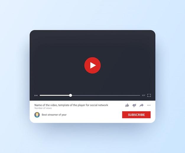 Schnittstelle des online-kanals mit abonnement-button im flachen stil. Premium Vektoren