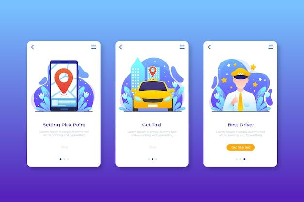 Schnittstellendesign für taxi-anwendungen Kostenlosen Vektoren