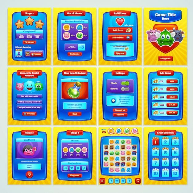 Schnittstellenspiel. alle bildschirme, die sie für ihr spiel benötigen. . Premium Vektoren
