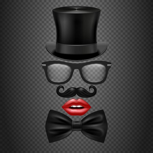 Schnurrbart, fliege, brille, rote mädchen lippen und zylinder hut. realistische fotozelle Premium Vektoren