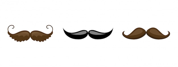 Schnurrbart-sammlung Premium Vektoren