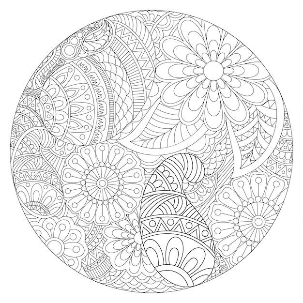 Schöne abgerundete mandala-design mit ethnischen blumenmuster, vintage dekorative element für malbuch. Kostenlosen Vektoren