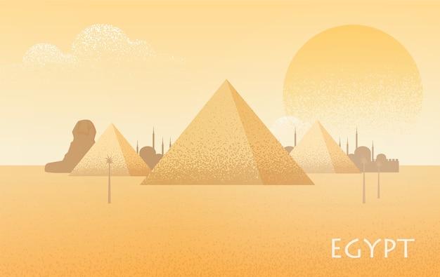 Schöne ägyptische wüstenlandschaft mit silhouetten des pyramidenkomplexes von gizeh, statue der großen sphinx, traditioneller gebäude und großer sengender sonne auf hintergrund Premium Vektoren