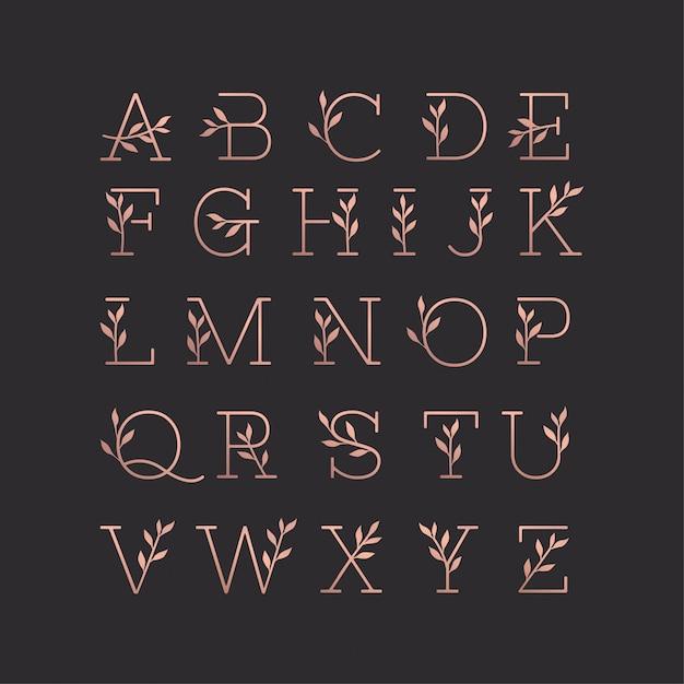 Schöne alphabet monoline blumensammlung Premium Vektoren