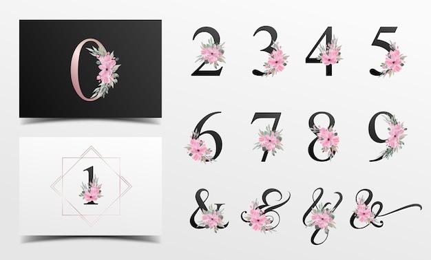 Schöne alphabet-sammlung mit aquarell-blumendekoration Kostenlosen Vektoren