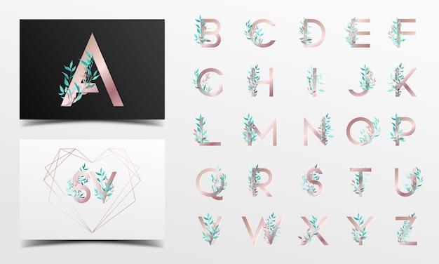 Schöne alphabetsammlung mit blumenaquarelldekoration Premium Vektoren