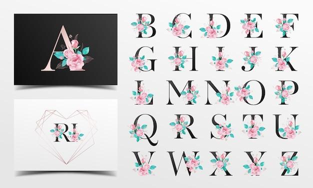 Schöne alphabetsammlung mit rosafarbener aquarelldekoration Premium Vektoren