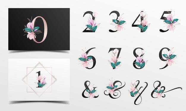 Schöne alphabetzahlensammlung mit rosa aquarellblumendekoration Premium Vektoren