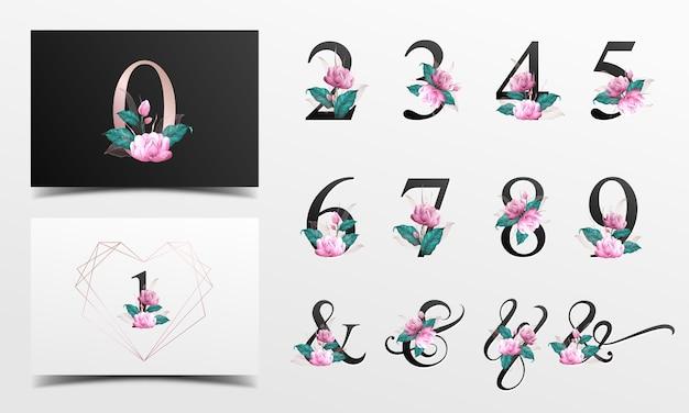 Schöne alphabetzahlensammlung verziert mit dem rosa blumenaquarell gemalt. Premium Vektoren