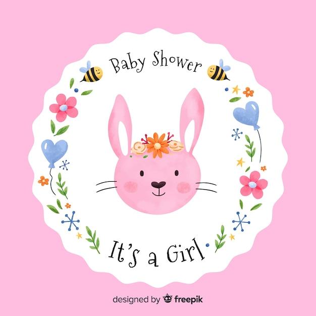 Schöne aquarell baby dusche zusammensetzung Kostenlosen Vektoren