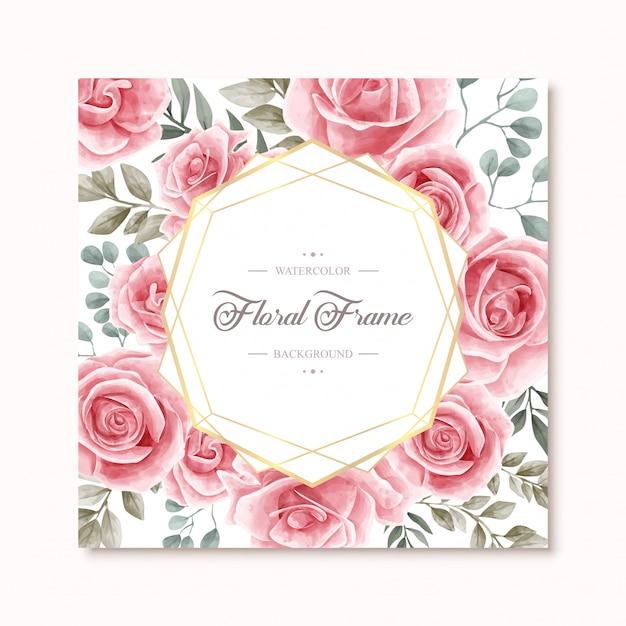 Schöne aquarell-blumenrose flowers frame multipurpose background Premium Vektoren