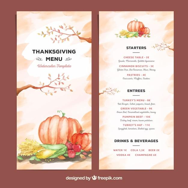 Schöne aquarell thanksgiving-menü-vorlage Kostenlosen Vektoren