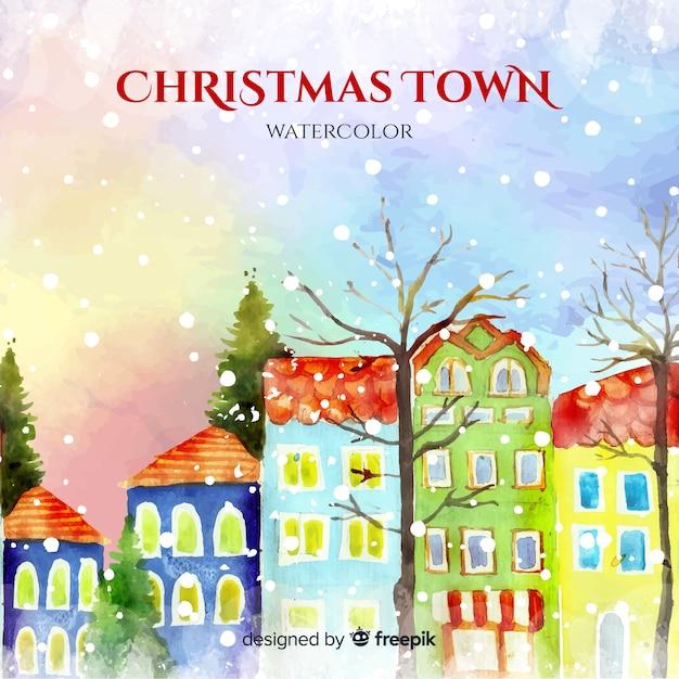 Schöne aquarell weihnachtsstadt Kostenlosen Vektoren