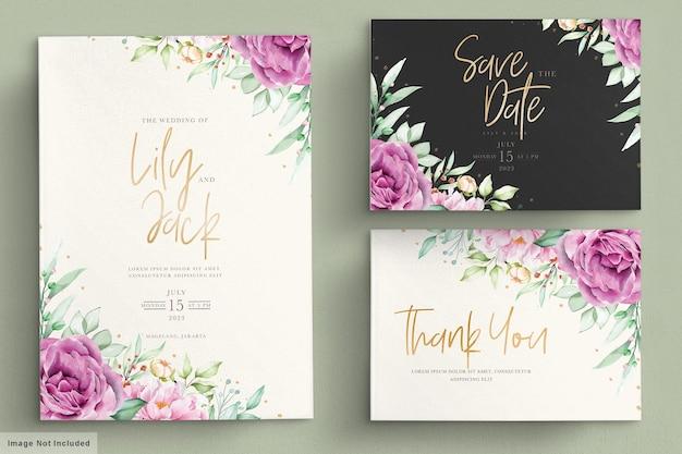 Schöne aquarellblumen hochzeitskartensatz Premium Vektoren