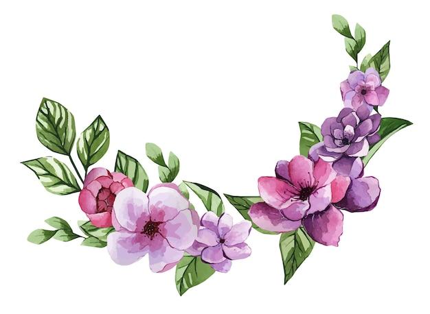 Schöne aquarellblumenanordnung eines blumenstraußes der lila blumen Premium Vektoren