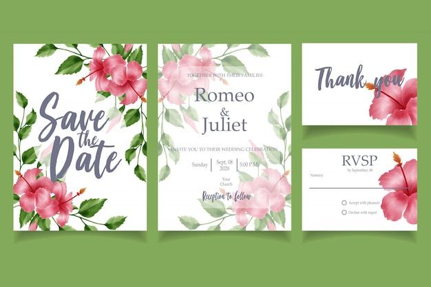 Schöne aquarellblumenhochzeitseinladungs-kartenschablone mit blumen Premium Vektoren