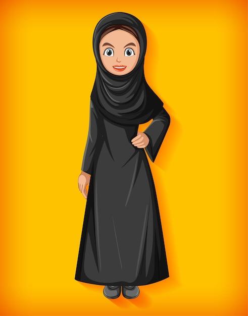 Schöne arabische dame zeichentrickfigur Premium Vektoren