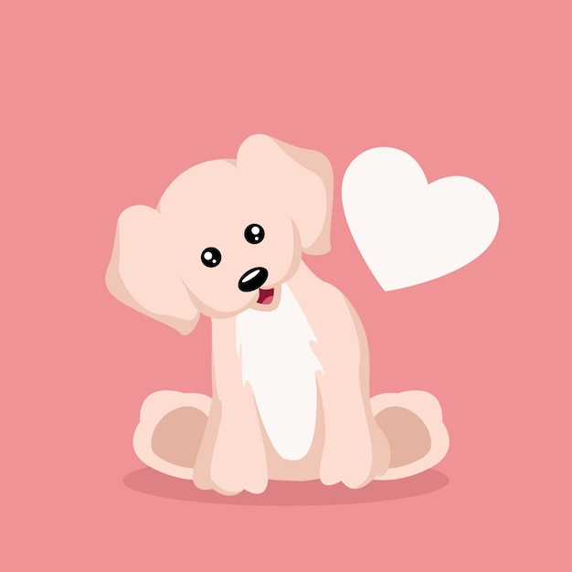 Schöne baby-hündchen-valentinsgrußkarte Premium Vektoren