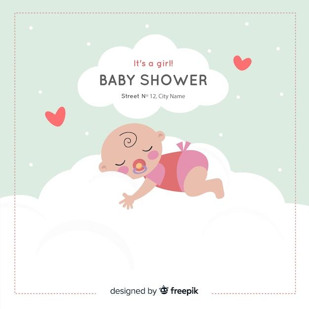 Schöne babyduschzusammensetzung mit flachem design Kostenlosen Vektoren