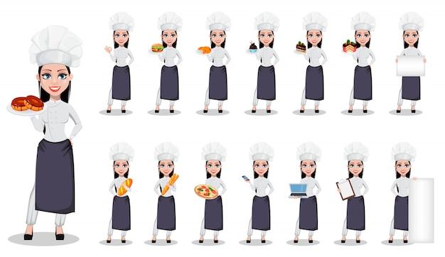 Schöne bäckerfrau in der berufsuniform Premium Vektoren