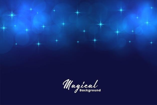 Schöne blaue magische sterne und bokeh beleuchtet hintergrund Kostenlosen Vektoren