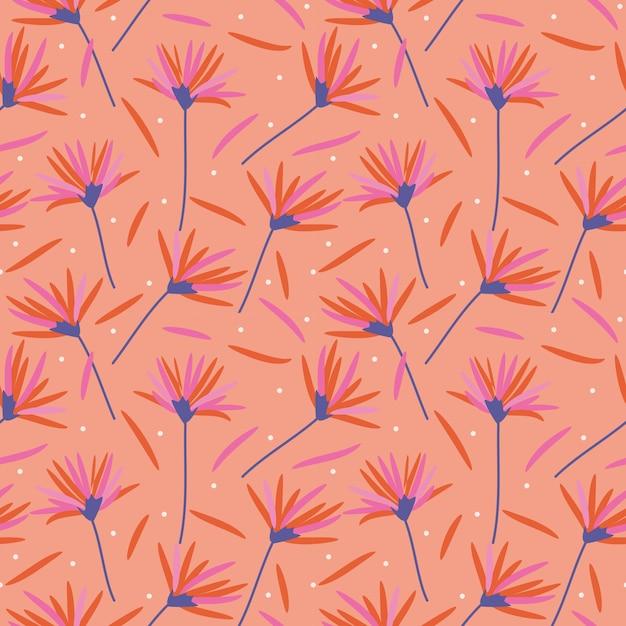 Schöne blumen im nahtlosen muster der korallenroten farben. Premium Vektoren