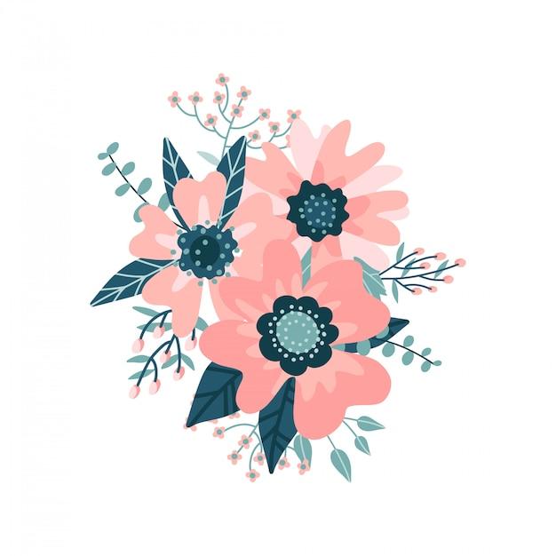 Schöne blumenfarbzusammensetzung mit blütenblume und -blatt, beeren, zweigen auf weißem hintergrund. Premium Vektoren