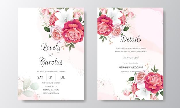 Schöne blumenhochzeits-einladung mit blühenden rosen und grünen blättern Premium Vektoren
