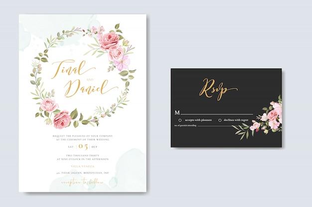 Schöne blumenhochzeitskarte mit rosenrahmenschablone Premium Vektoren