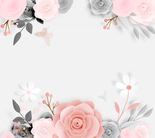Schöne blumenpapierkunst mit schmetterlingsvektor illustation Premium Vektoren
