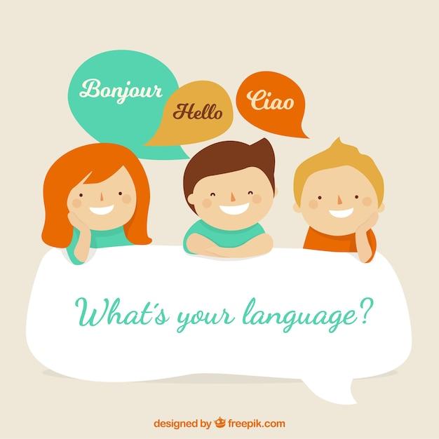 Schöne charaktere, die verschiedene sprachen sprechen Kostenlosen Vektoren