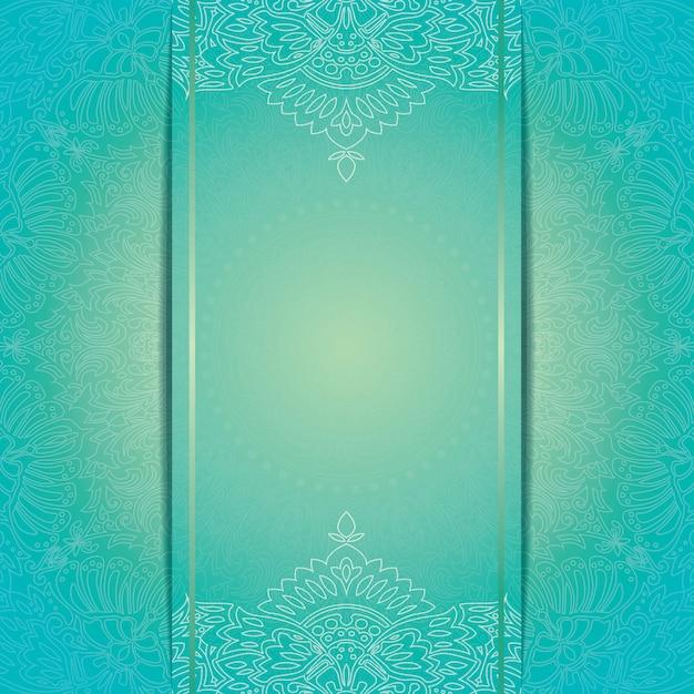 Schöne einladungskarten-schablone mit runder patern-blumenverzierung Premium Vektoren